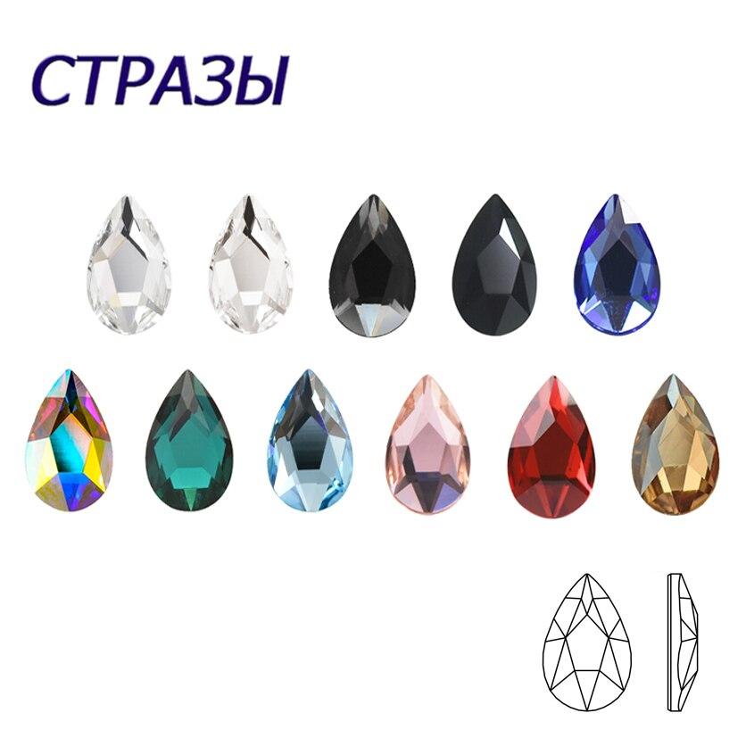20PCS AB Mix Farben Tipps Nagel Strass flache Pixie kristall Drop diamanten 3D Maniküre Nail art Dekoration Charms Schmuck