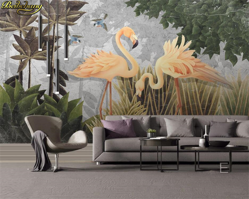 Beibehang Custom 3d Wallpaper Mural Medieval Hand Painted Tropical Rain Forest Flamingo Background Wall Painting Papel De Parede