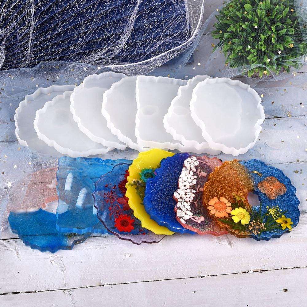 DIY Crystal Epoxy Resin Mold Coaster Tray Cup Mat Casting Silicone Mould K0U7