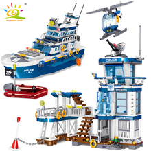 HUIQIBAO 866pcs Sea Police Station With Boat City Building Blocks Kit Policeman Figures Bricks Construction Toys For Children