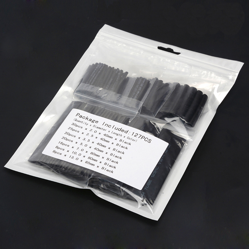 127pcs 2/2.5/3.5/5/7/10/13mm Heat Shrink Tube 2:1 Black Insulation Materials