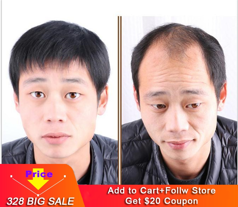 Middle-aged Man Wig 100% Real Human Hair Men Handmade Dad Wig Natural Short Hair Silk Base Full Lace Wigs Eseewigs