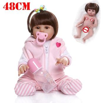 NPK DOLL bebe reborn 48CM popular  soft flexible full body silicone reborn baby girl  pink dress sweet face cuddly baby toddler