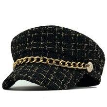 Women Hats Chain Newsboy-Caps Military-Cap Plaid Vintage Tweed Flat-Top Autumn Female