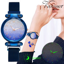 Women Watches Starry Sky Luxury Ladies Stainless Steel Quartz Wristwatch Magnet Buckle Mesh Clock Relogio Feminino Dropshipping(China)
