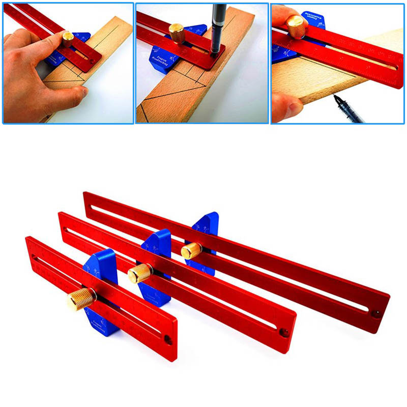 Woodworking 45/90 Degree Angle Scriber Ruler Hole Ruler Aluminum Alloy T-shaped Mark Ruler Measuring Ruler Woodworking Tools