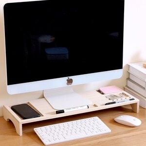 Офисный Компьютерный монитор, усиленная Подставка для хранения из твердой древесины, высокая настольная подставка для хранения, многофунк...
