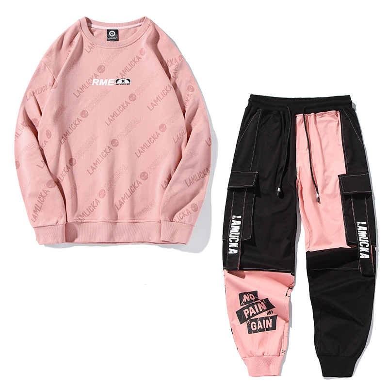 2019 Autumn New Style Leisure Suit Hoodie Bib Overall Two-Piece Casual Tops Pants Fashion Men And Women Clothes