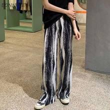 Брюки женские длинные плиссированные, модные мягкие универсальные шикарные брюки с завышенной талией, с винтажным принтом, для отдыха, на л...