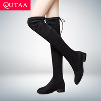 QUTAA 2020 Ladies Shoes Square Low Heel Women Over The Knee Boots Scrub Black Pointed Toe Woman Motorcycle Boots Size 34 43