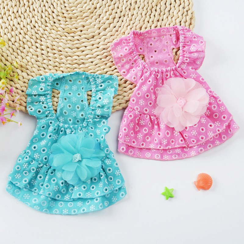 2018 New Hot Dog Dress Cotton Lace Flower Princess Style Breathable Skirt Puppy Summer Clothing Apparel Costume Pet Supplies MM