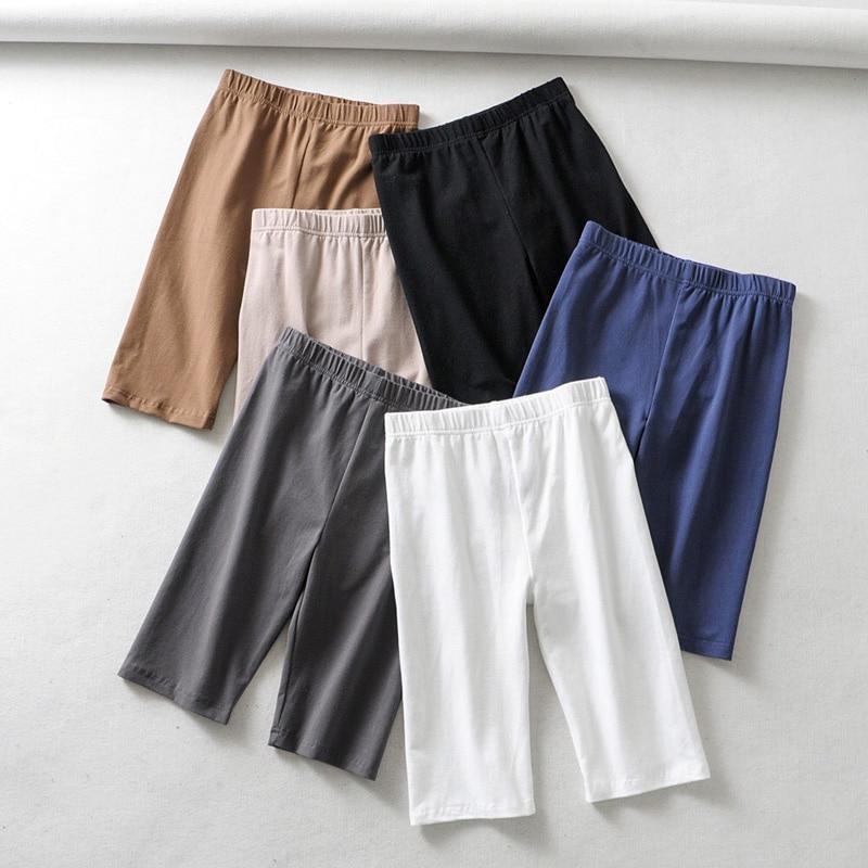 sexy women cotton high waist elastic pure color slim Knee Length bike shorts female|Shorts| - AliExpress