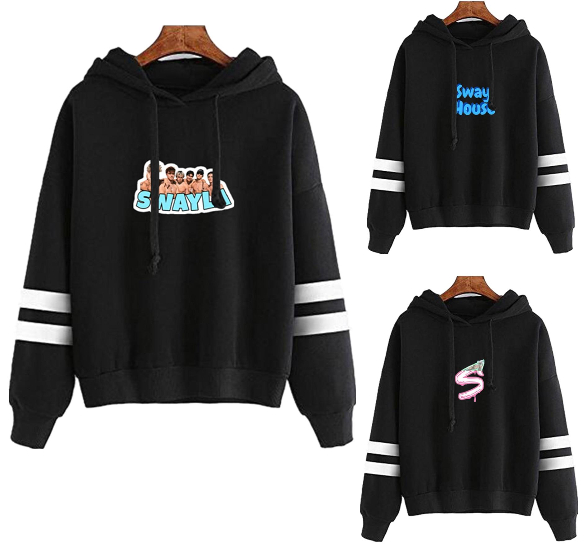 Social Platforms Sway House Logo Hooded Sweatshirt Print Parallel Bars Sleeves Fashion 2020 New Harajuku Swayla Log Casual Full