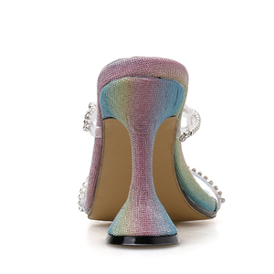 Image 5 - Kcenid 2020 ブリンブリンラインストーンクリスタル女性スリッパカット夏の靴女性パンプスハイヒールミュールスライド女性パーティー靴
