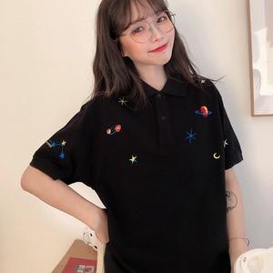 Image 3 - Kadın işlemeli üstleri yaka aşağı kore Polo kısa kollu T shirt T Shirt grafik baskı Tees gömlek büyük boy moda şık