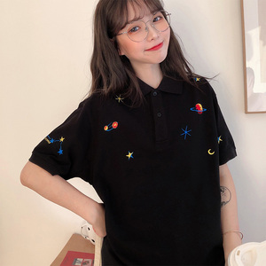 Image 3 - נשים רקום חולצות צווארון למטה קוריאני פולו חולצה קצר שרוול T חולצה גרפי הדפסת Tees חולצה רחב מימדים אופנה שיק