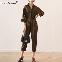 Russian Women High Street Quality Jumpsuits Brown Color Spring Fall Fitness Ankle-length Handsome Slim Jumpsuits with Slash