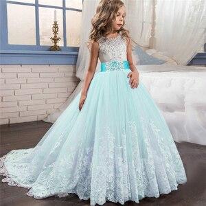 Image 4 - Robe de spectacle de demoiselle dhonneur, tenue de fête de mariage, pour enfants, adolescentes 10 12 14 ans