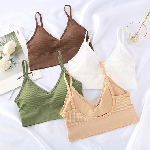 Women Tank Crop Top Seamless Underwear Female Crop Tops Sexy Lingerie Intimates Fashion With Removable Padded Camisole 1/2Pcs