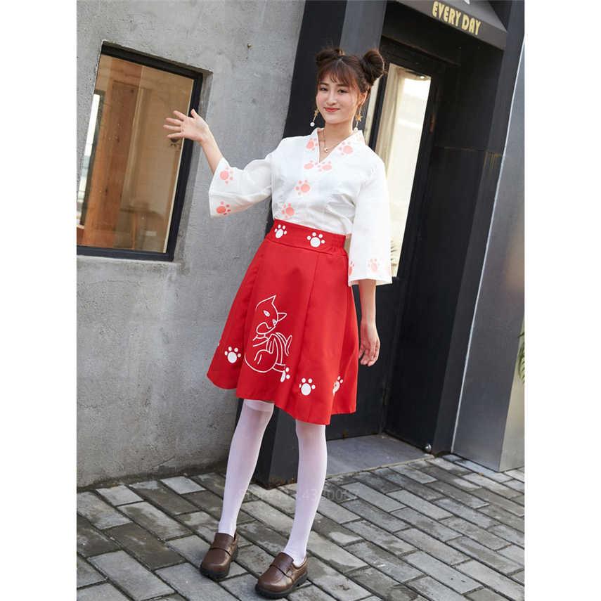 Kız kedi Kimono japon tarzı fantezi karikatür Kawaii Haori elbise kadınlar baskı zarif Vintage çay parti kıyafetleri Cosplay kostüm