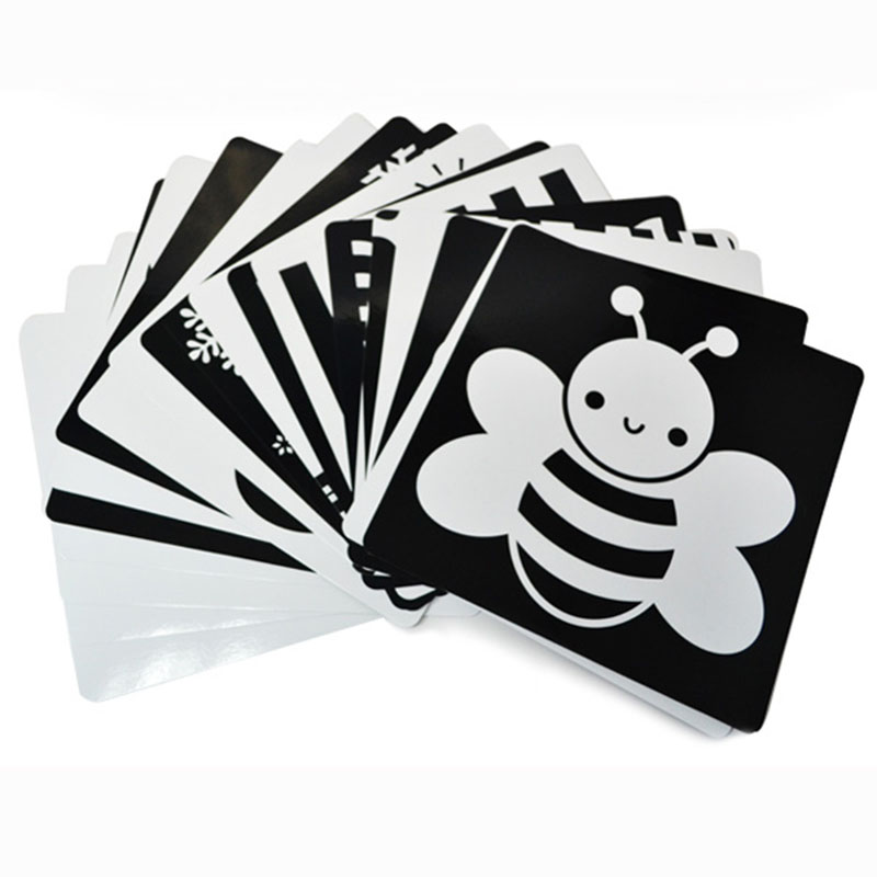 New 21x21cm Black And White Cards For Preschool Educational Baby Kids Double-sided Visual Training Card Animal Cards 0-12 Months