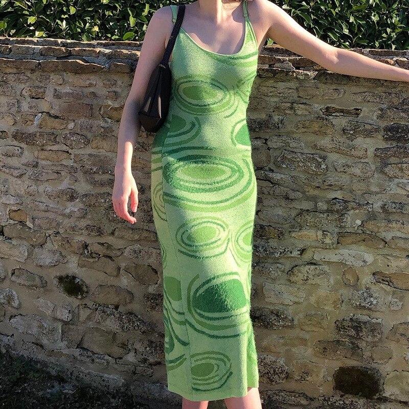 Sexy Dress Women Y2K Green Print Knit Bodycon Sleeveless Spaghetti Strap Beach Party Midi Summer Dress 2021 Robe Femme Vestidos 1