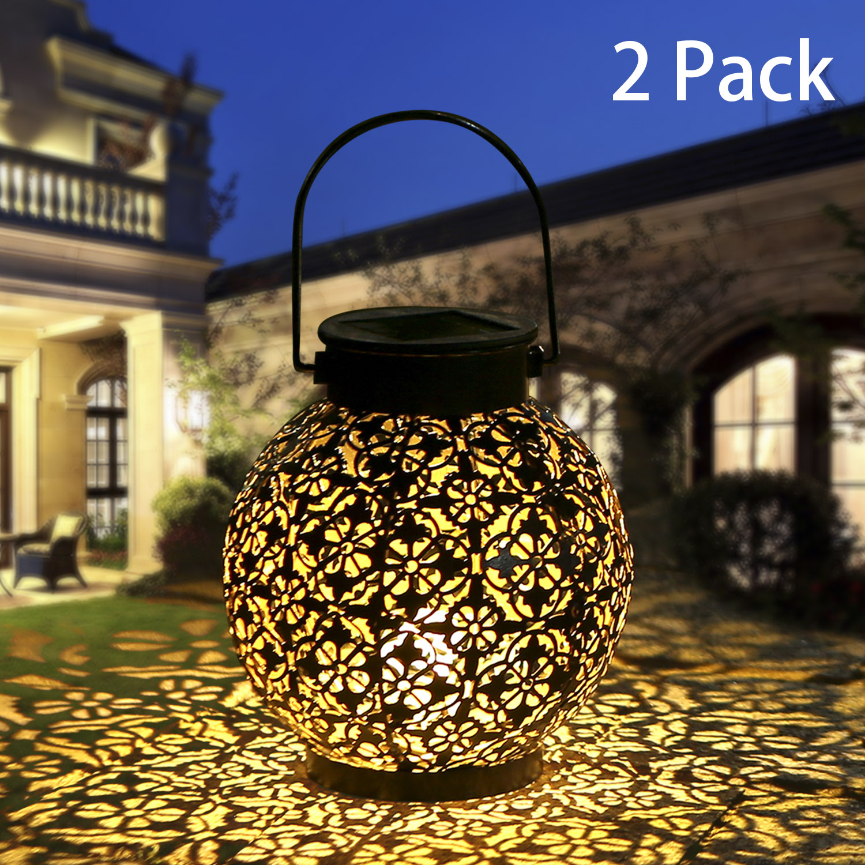 Outdoor solar garden light  Hollowed Out Shadow Lantern Hanging Hollow solar powered lamp Waterproof Landscape Solar Lamp Garden