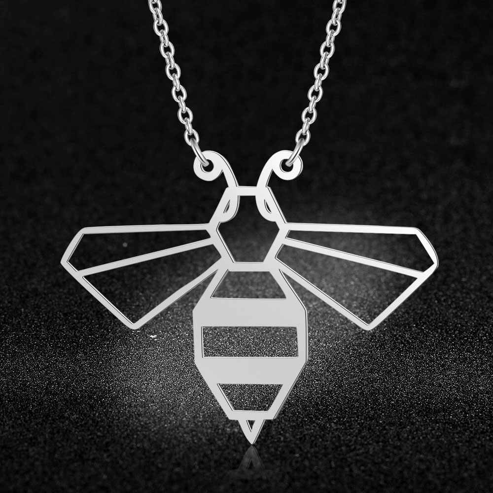 100% Real Stainless Steel Hollow Honeybee Necklace Italy Design Fashion Animal Pendant Necklaces Special Gift