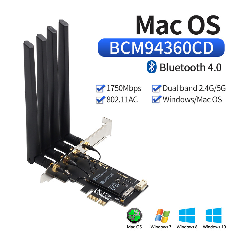 Dual band BCM94360CD Hackintosh PC 1750Mbps WiFi Bluetooth 4.0 PCI-E Adapter for macOS Airdrop Handoff Continuity BCM94360 Wifi(China)