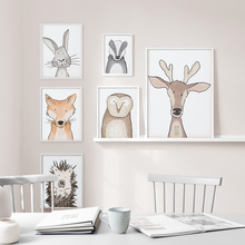 Animal Deer Rabbit Fox Wolf Hedgehog Owl Wall Art Canvas Painting Nordic Posters And Prints Pictures Baby Kids Room Decor
