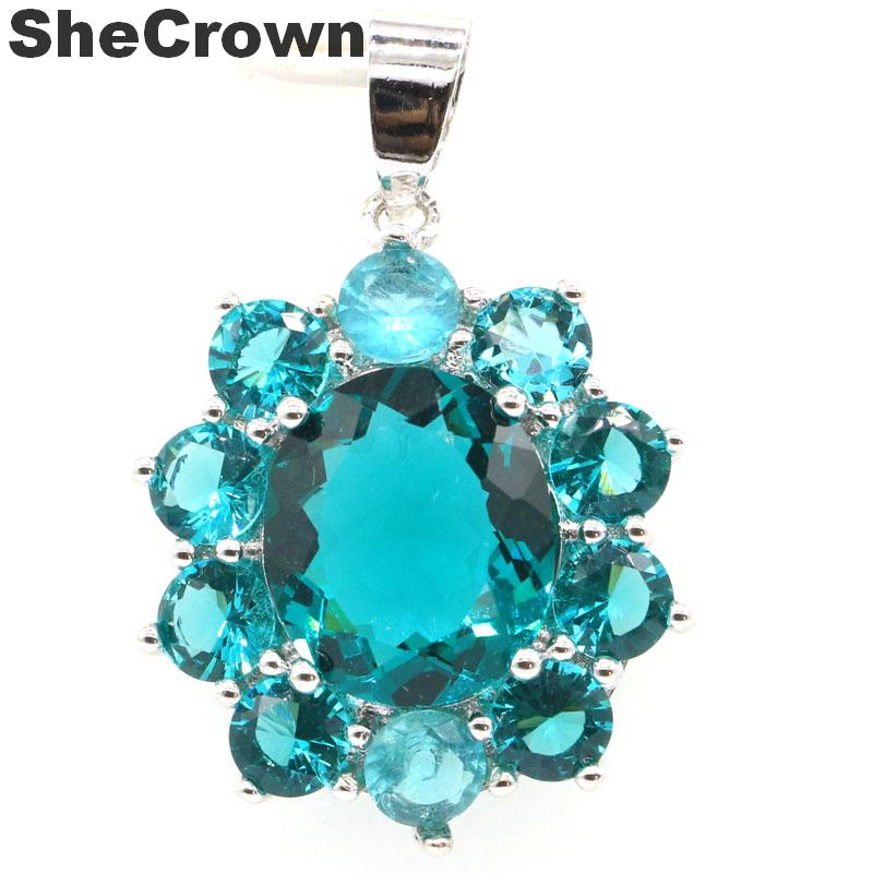 34x23mm  Classic Created Rich Blue Aquamarine Gift For Man Silver Pendant