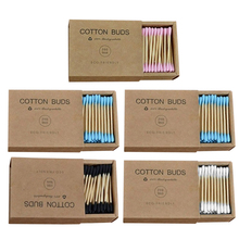 1000Pcs/5 Box of Color Mixed Bamboo Cotton Double Head Adult Makeup Cotton Swab Wooden Stick Nose Ear Cleaning Sanitation Tool