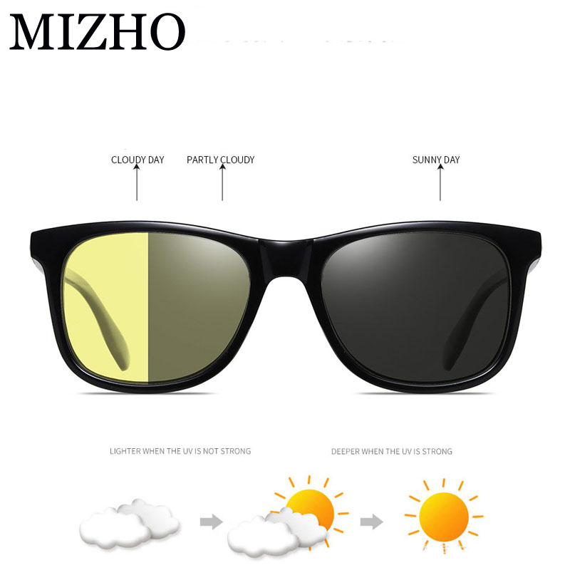 MIZHO 2020 New All-weather Snow Light Photochromic Sunglasses Men Polarized Night Vision Glasses Driver For Women Eyewar