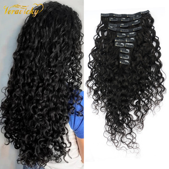 Veravicky  Natural  Curly 140G Clip In Hair Extensions  Machine Made Remy Human Hair Full Head Set Clip ins
