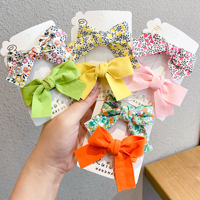 [Xwen] 2 Pieces/set Floral Bow Children Hairpin Kids Headdress Printed Side Bangs Clip Fashion Hair Accessories OH2137 1