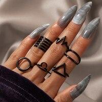 Tocona-Conjunto de 6 anillos de ondas bohemias para mujer, conjuntos de juntas negras para mujer, dijes huecos geométricos simples, accesorios de joyería para fiesta 17512