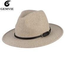 GEMVIE 2019 New Wide Brim Wool Fedora Felt Hat For Women Warm Autumn Winter Panama Jazz Cap With Buckle Leather Band