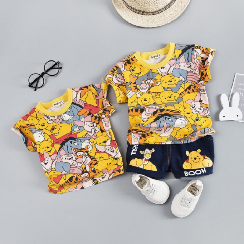 Children Clothing Boys Summer Cartoon Mickey Bear Shorts Denim Pants Baby Kids Short Sleeve T Shirt Jeans Boy Girls Clothes Sets 1