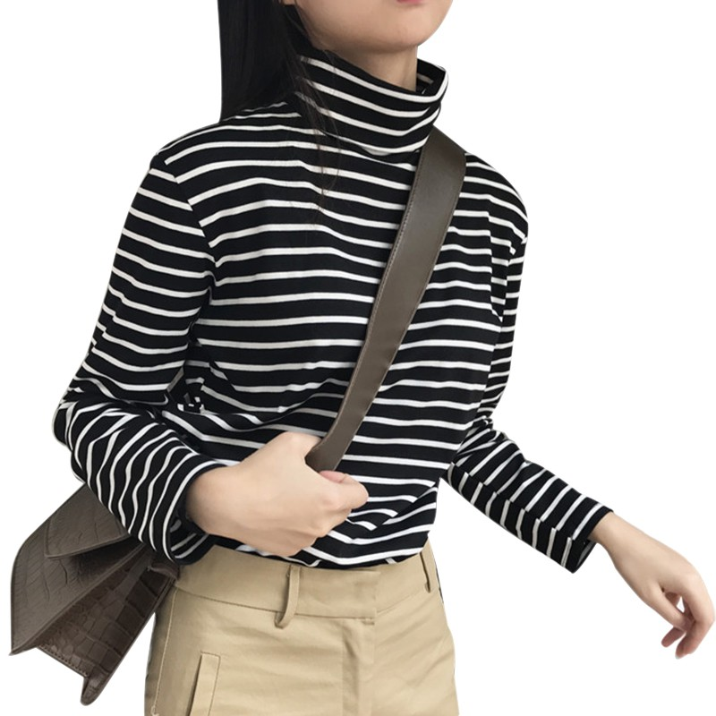 Women's Sweater Winter Korean College Pure Bottoming Shirt Wild Contrast Color Striped High Collar Knit Sweater Striped Top