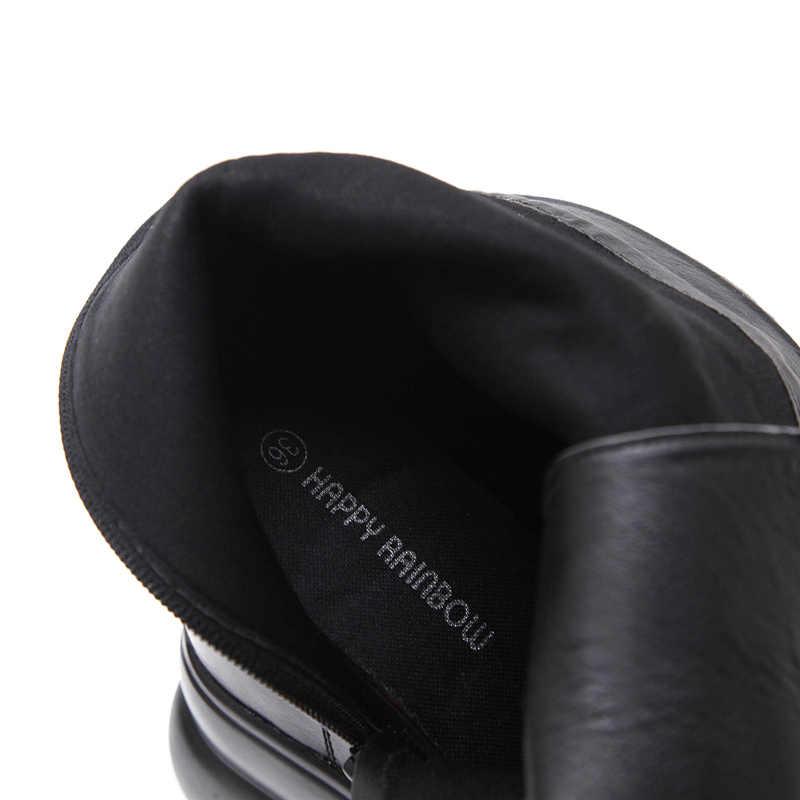 2019 Phụ Nữ Đế Xuồng 12cm Giày Cao Gót sang trọng đen sock Cao giúp Giày Tôn Sùng Cổ Chân Khối Gót Mùa Thu 5cm giày đế Giày bốt Martin