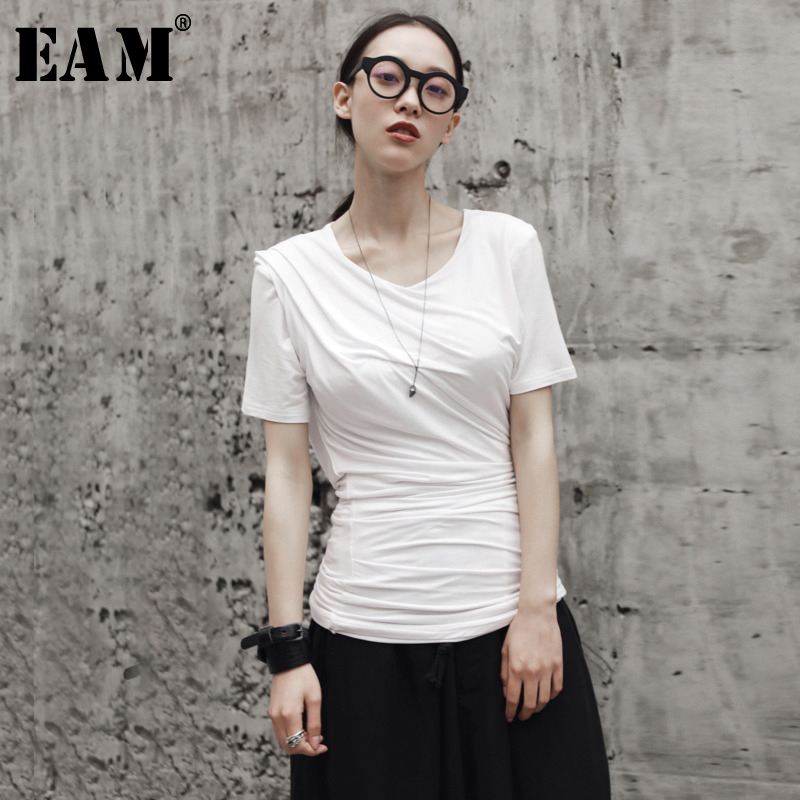 [EAM] 2020 New Spring Summer Round Neck Short Sleeve White Loose Pleated Spliced Loose T-shirt Women Fashion Tide JR496