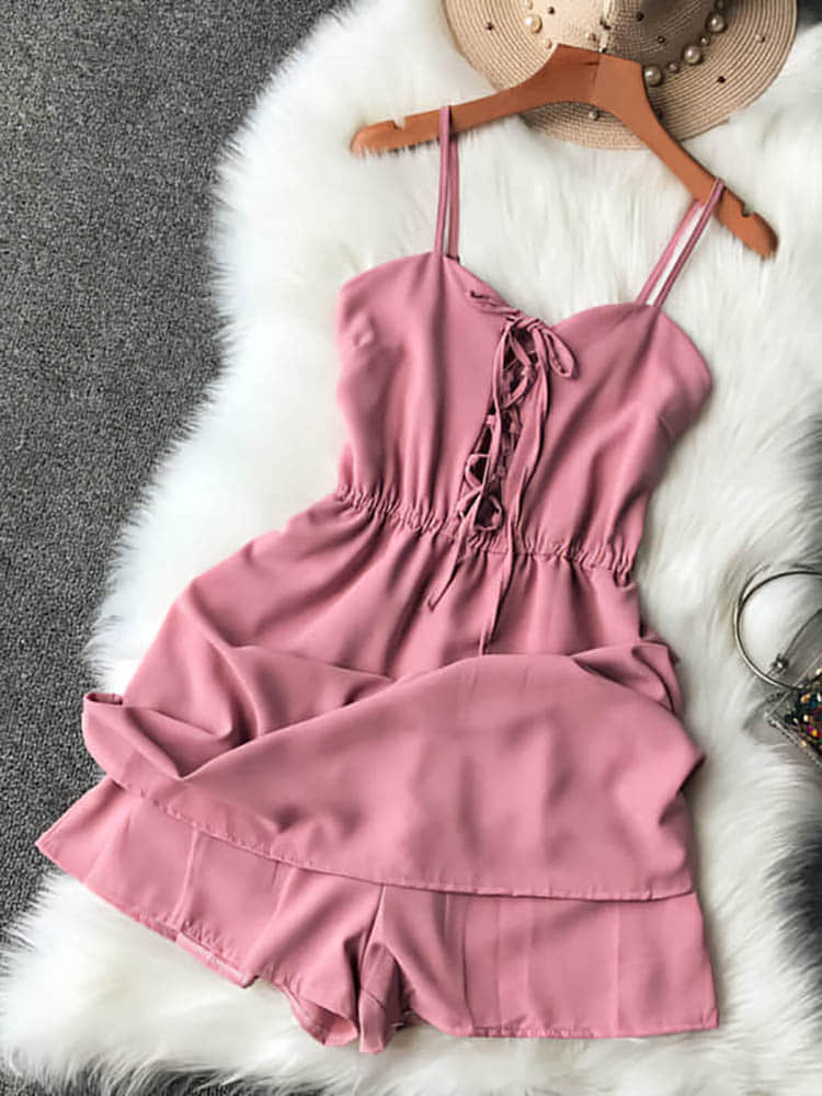 He8f2b747baa748b0a3e589501aeca97aK - Candy Color Elegant Jumpsuit Women Summer Latest Style Double Ruffles Slash Neck Rompers Womens Jumpsuit Short Playsuit