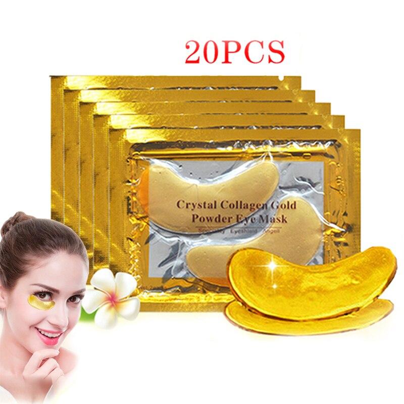 Innicare 20 pçs cristal colágeno ouro máscara de olho anti-envelhecimento círculos escuros acne beleza remendos para cuidados com a pele dos olhos cosméticos coreanos