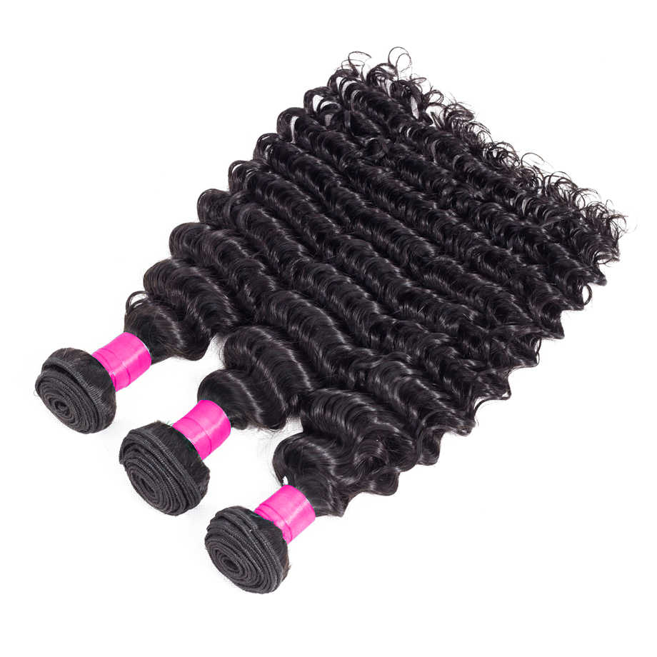 BY 28 30 Inch Bundles With Closure Brazilian Hair Wave Bundles 3 Deep Wave Bundles With Closure Remy 100% Human Hair Extension