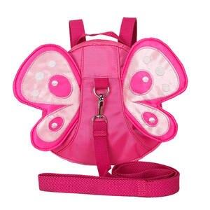 Backpack Wings-Pack for Kids Girls Pink Shoulder-Bag Anti-Lost Nylon Sterescopic Nylon