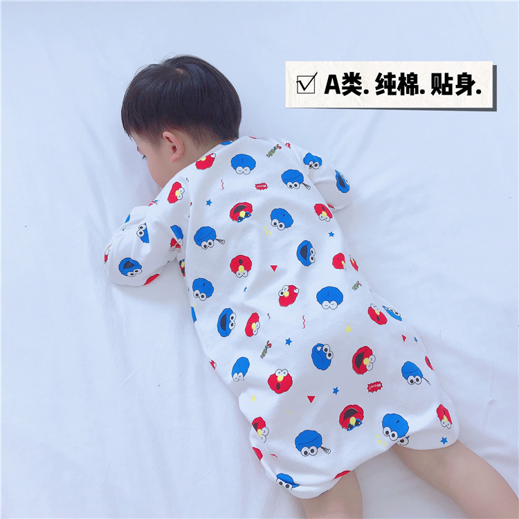 STT 2019 Men And Women Children Pure Cotton Knitted Long Sleeve Women's Robes Cartoon Surface Ultra-Sesame Street Smiley Printed