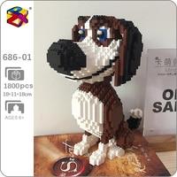 PZX 686-01 Animal World Cartoon Beagle Hound Dog Sit Pet Model DIY Mini Diamond Blocks mattoni giocattolo da costruzione per bambini senza scatola