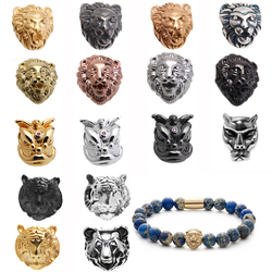 1 pcs DIY lion head beads for man's charms bracelets Copper plating kralen Drop shipping jewelry making supplies