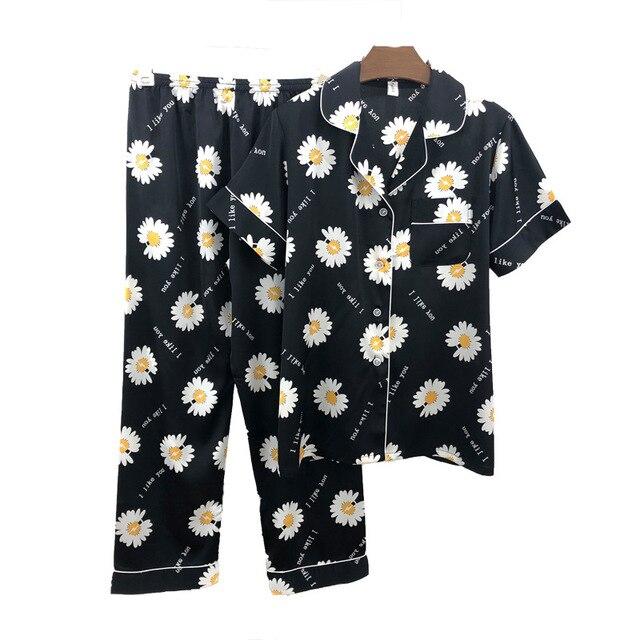 Lodowy jedwab damski piżama mała stokrotka piżama damski czerwony netto z tym samym akapitem ins wiatr koreańska wersja krótkiej mody
