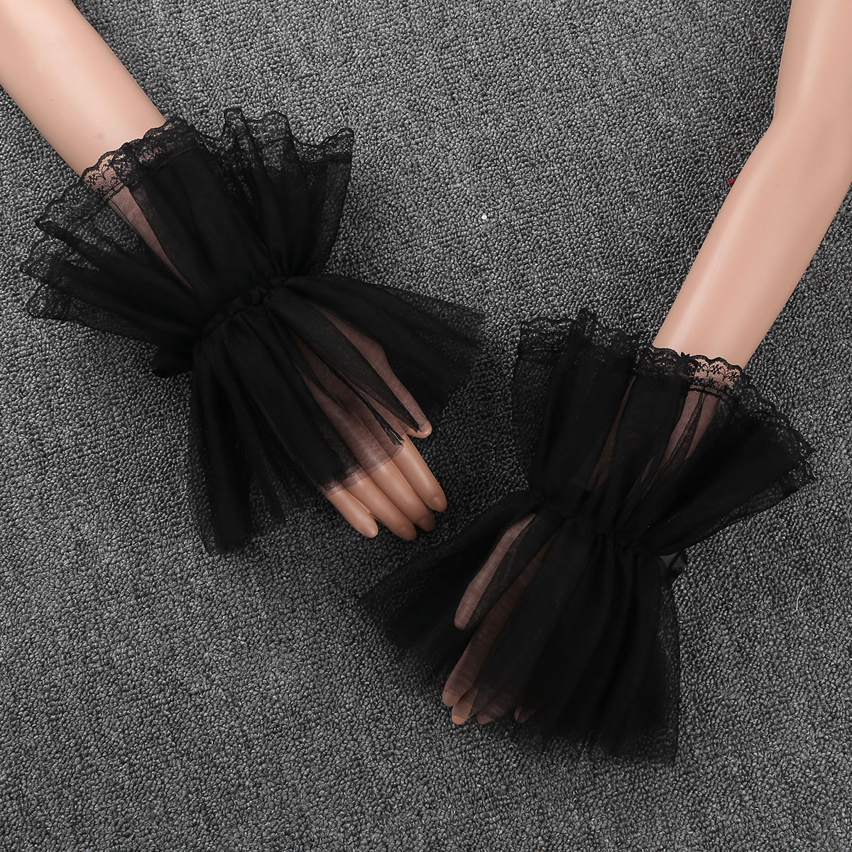 Wrist Cuffs Women Girls Handmade Adjustable Ruffled Tulle Bracelet False Sleeves Clothing Accessories For Wedding Dance Costume